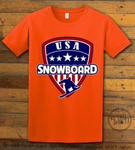 USA Snowboard Team Graphic T-Shirt - orange shirt design