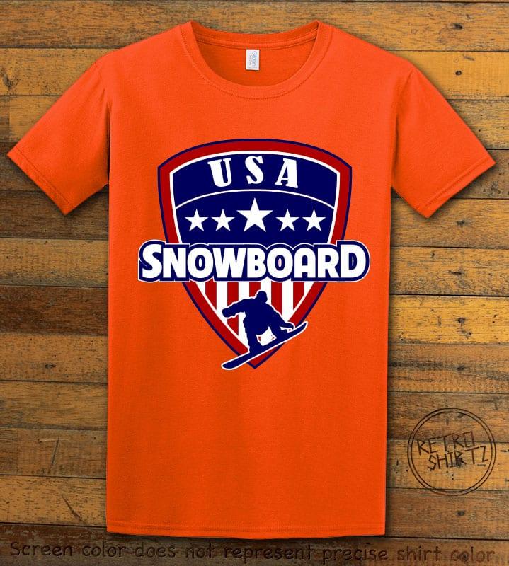USA Snowboard Team Graphic T-Shirt - orange shirt design