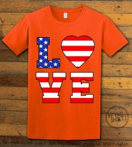 American Flag Love Graphic T-shirt - orange shirt design