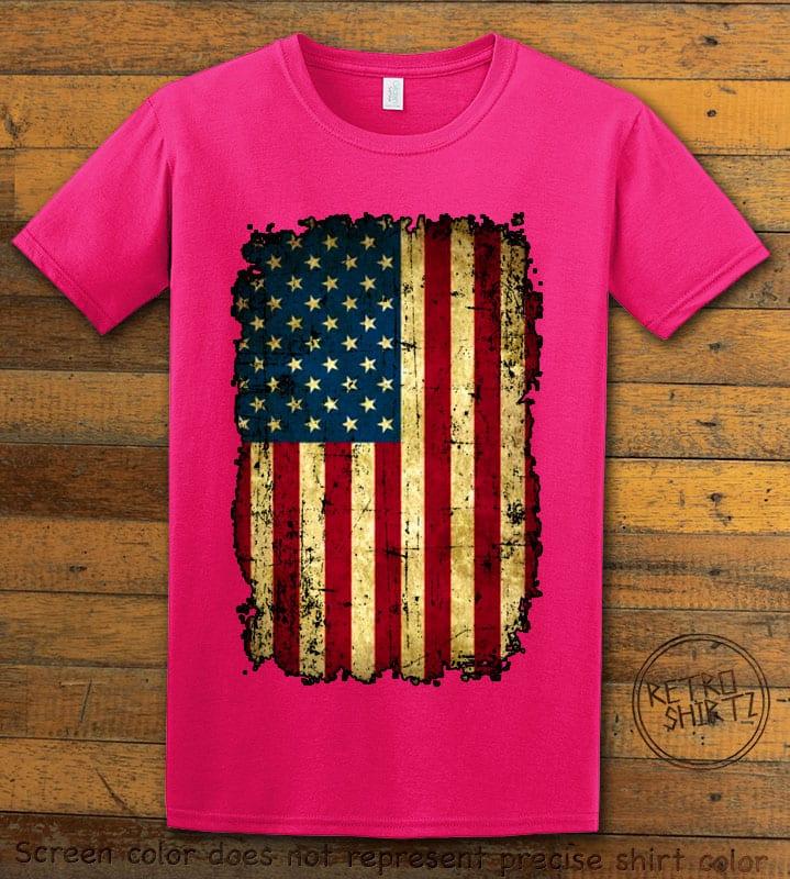 Distressed American Flag Graphic T-Shirt - pink shirt design