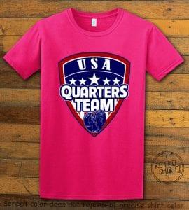 USA Quarters Team Graphic T-Shirt - pink shirt design