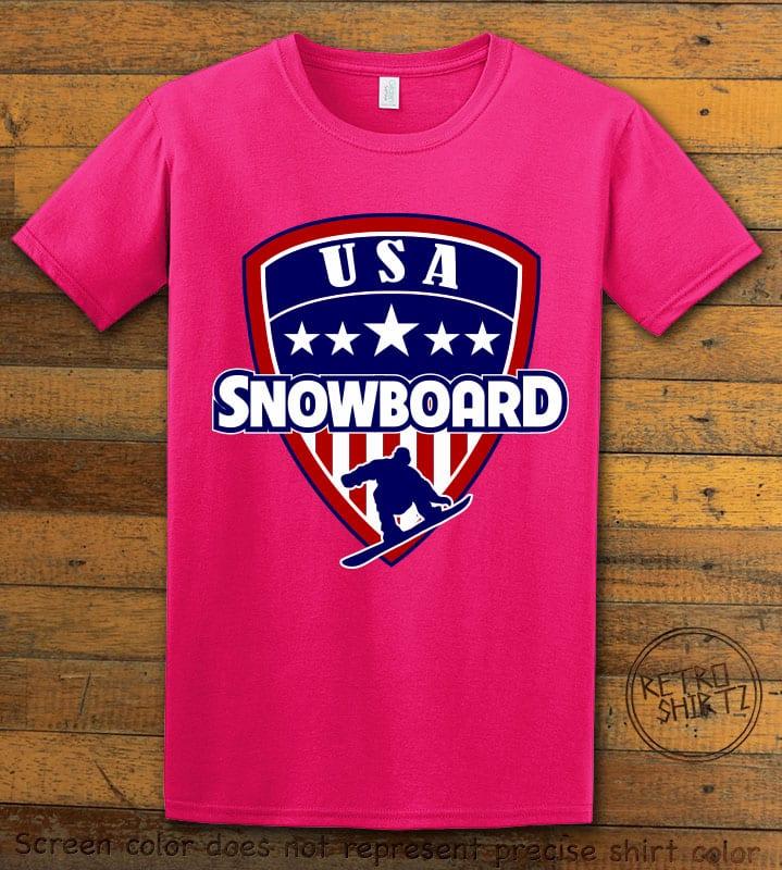 USA Snowboard Team Graphic T-Shirt - pink shirt design