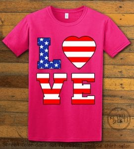 American Flag Love Graphic T-shirt - pink shirt design