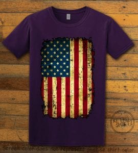 Distressed American Flag Graphic T-Shirt - purple shirt design
