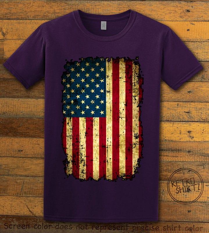 Distressed American Flag Graphic T-Shirt - purple shirt design