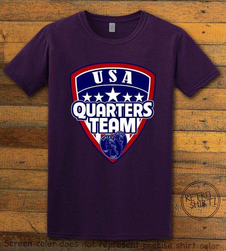 USA Quarters Team Graphic T-Shirt - purple shirt design