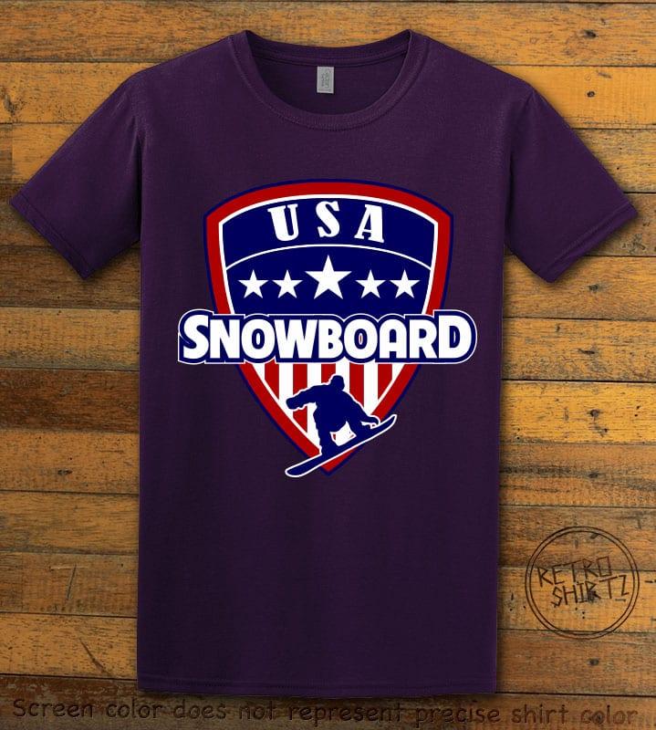 USA Snowboard Team Graphic T-Shirt - purple shirt design