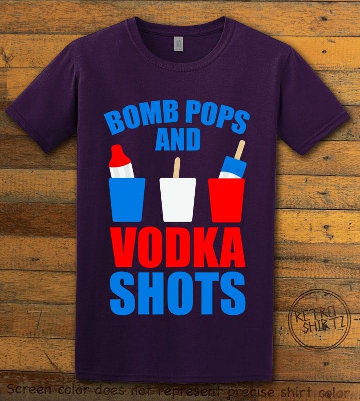 Bomb Pops and Vodka Shots Graphic T-Shirt - purple shirt design