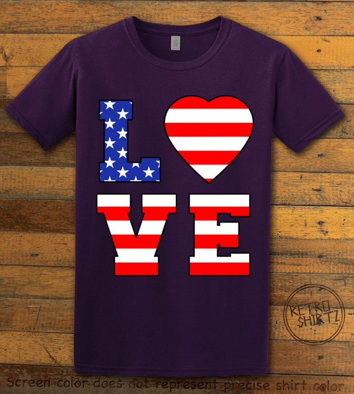American Flag Love Graphic T-shirt - purple shirt design