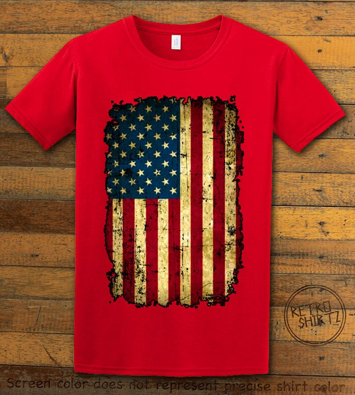 Distressed American Flag Graphic T-Shirt - red shirt design