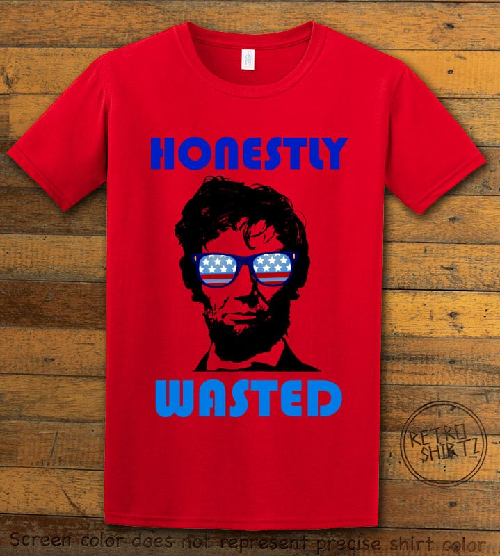 Honestly Wasted Graphic T-Shirt - red shirt design