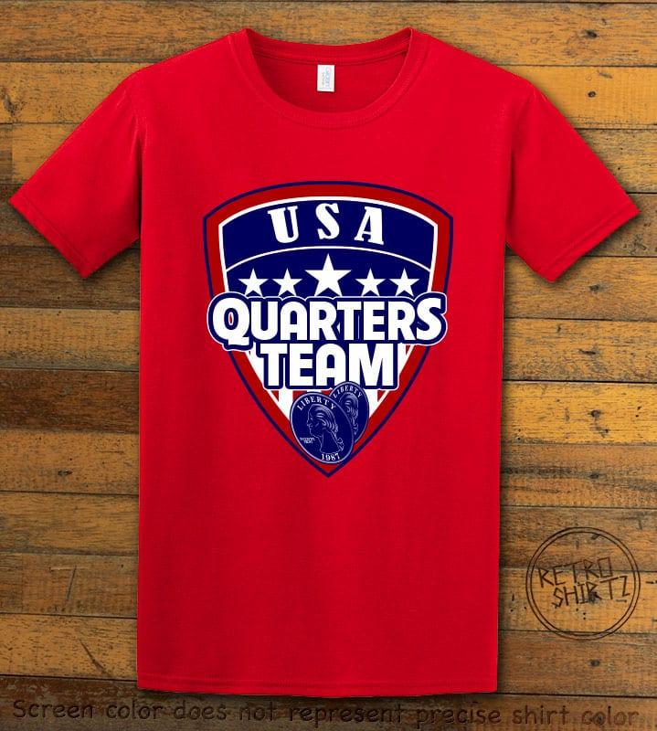 USA Quarters Team Graphic T-Shirt - red shirt design