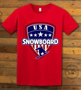 USA Snowboard Team Graphic T-Shirt - red shirt design