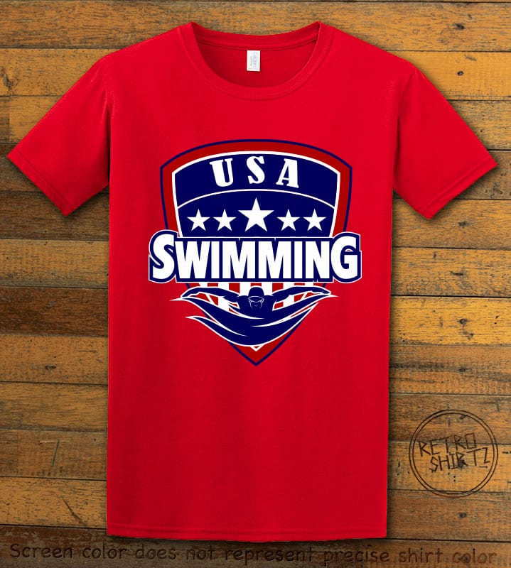 USA Swimming Team Graphic T-Shirt - red shirt design