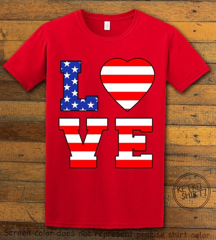 American Flag Love Graphic T-shirt - red shirt design