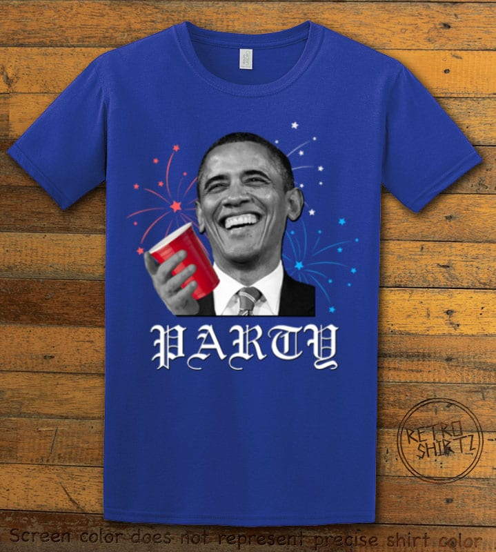 Party Obama Graphic T-Shirt - royal shirt design