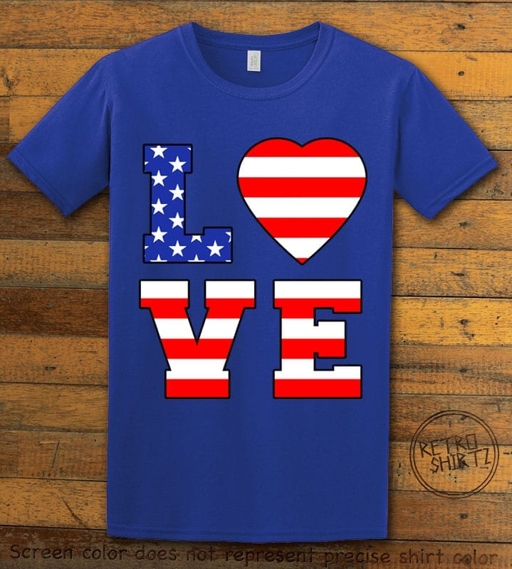 American Flag Love Graphic T-shirt - royal shirt design