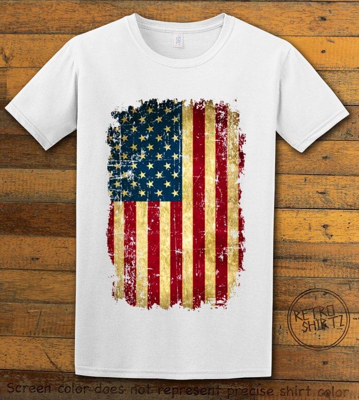 Distressed American Flag Graphic T-Shirt - white shirt design