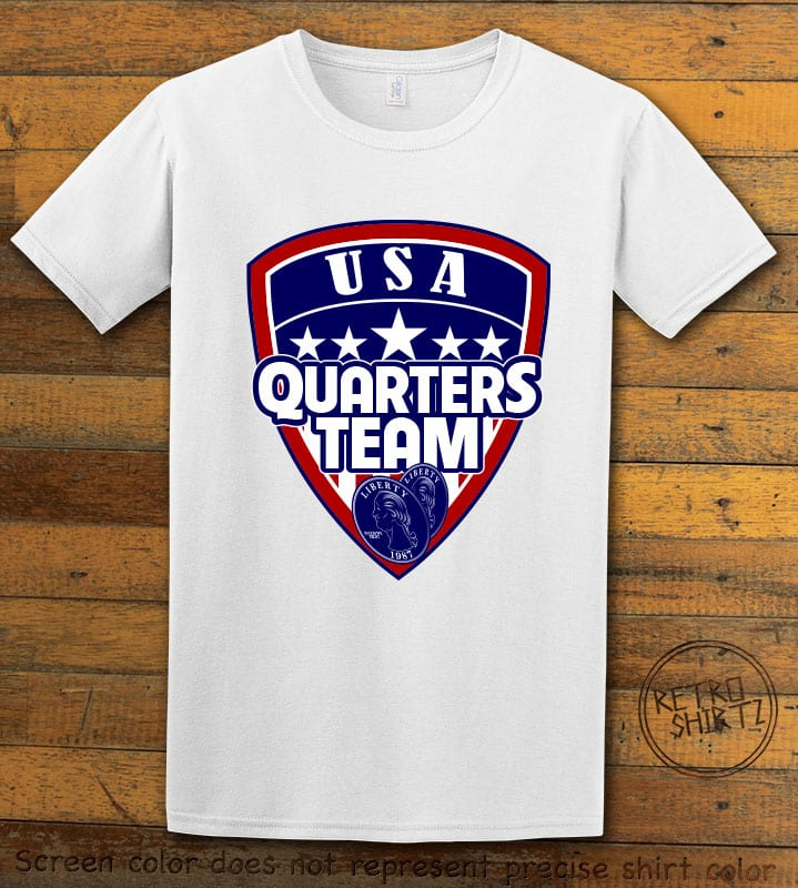 USA Quarters Team Graphic T-Shirt - white shirt design