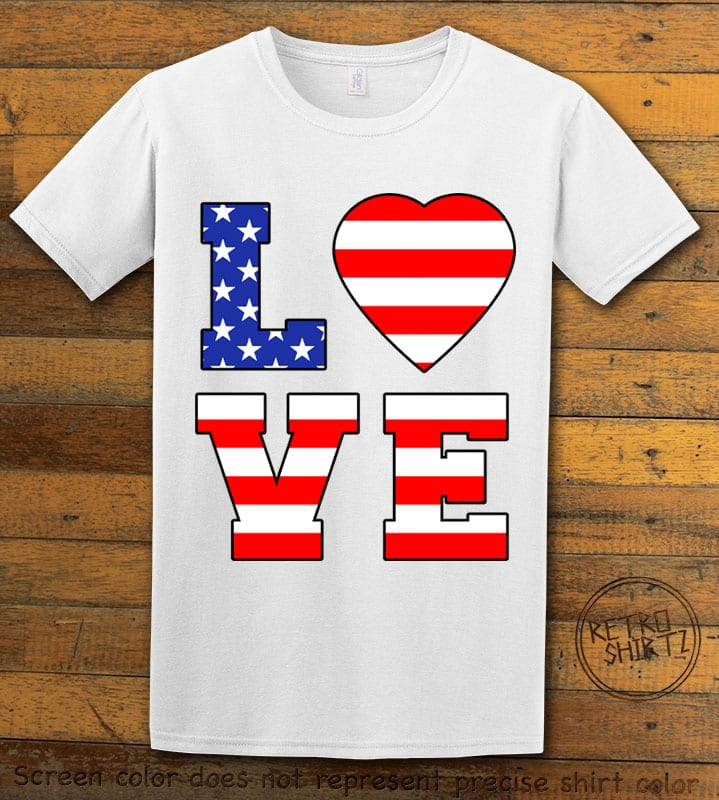 American Flag Love Graphic T-shirt - white shirt design