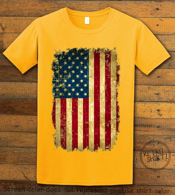 Distressed American Flag Graphic T-Shirt - yellow shirt design