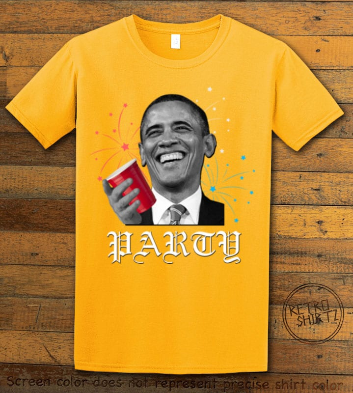 Party Obama Graphic T-Shirt - yellow shirt design