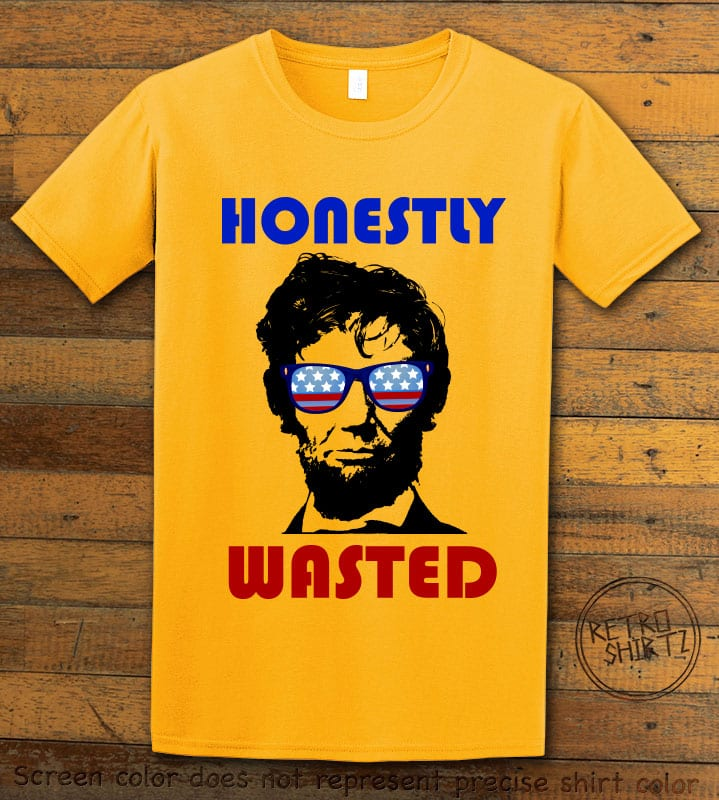 Honestly Wasted Graphic T-Shirt - yellow shirt design