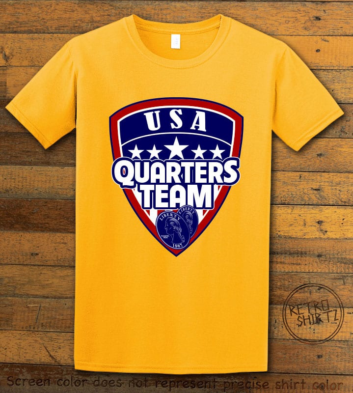USA Quarters Team Graphic T-Shirt - yellow shirt design