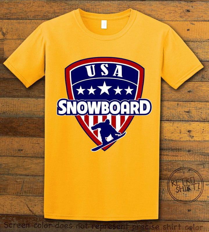 USA Snowboard Team Graphic T-Shirt - yellow shirt design