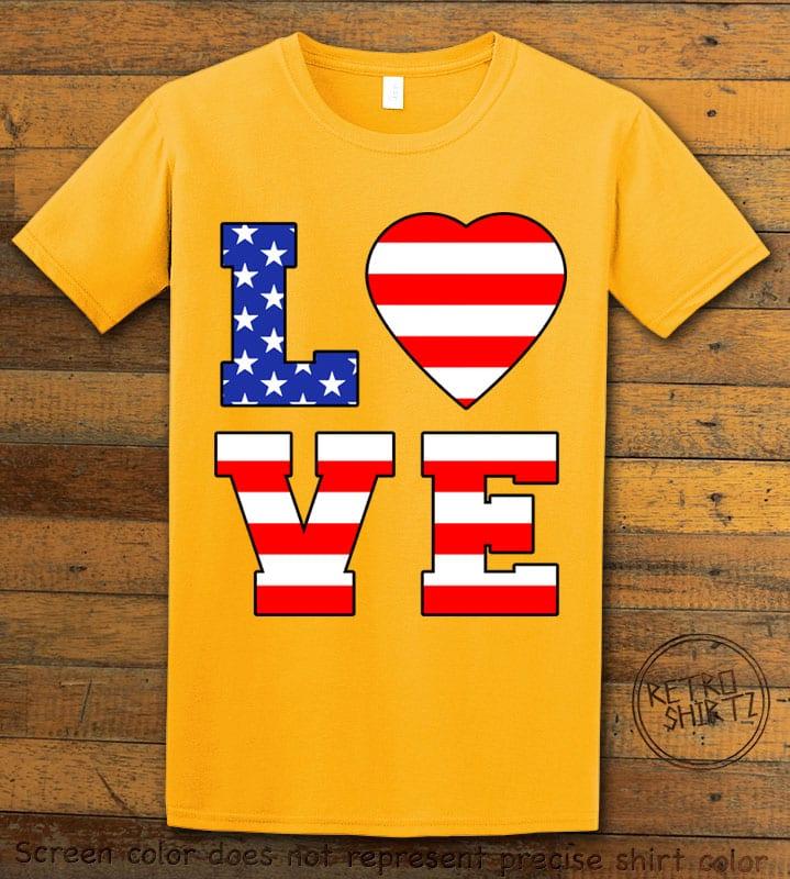 American Flag Love Graphic T-shirt - yellow shirt design