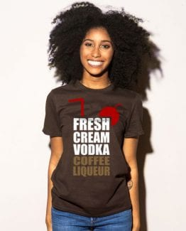 Fresh Cream Vodka Coffee Liqueur Graphic T-Shirt - brown shirt design on a model