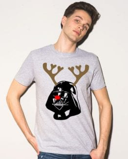 Darth Vader The Red Nosed Reindeer Graphic T-Shirt - grey shirt design on a model