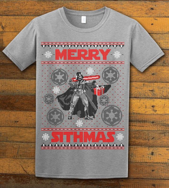 Merry Sithmas Graphic T-Shirt - grey shirt design
