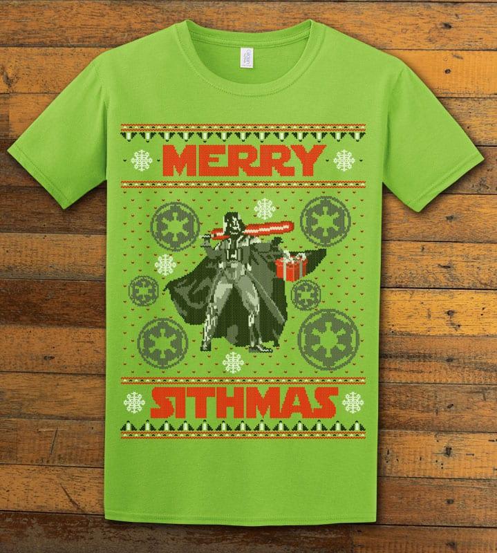 Merry Sithmas Graphic T-Shirt - lime shirt design