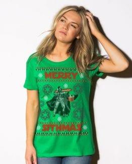 Merry Sithmas Graphic T-Shirt - green shirt design on a model