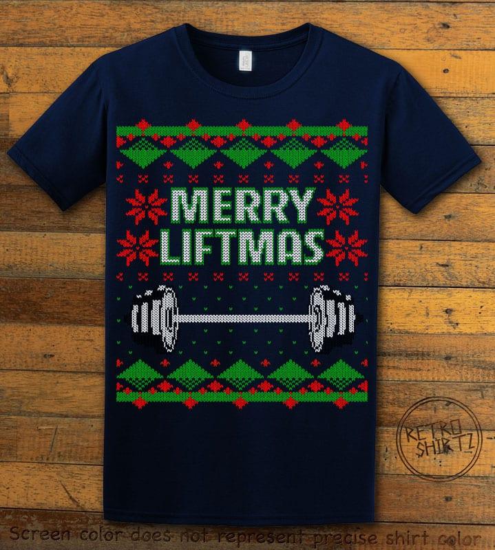 Merry Liftmas Graphic T-Shirt - navy shirt design