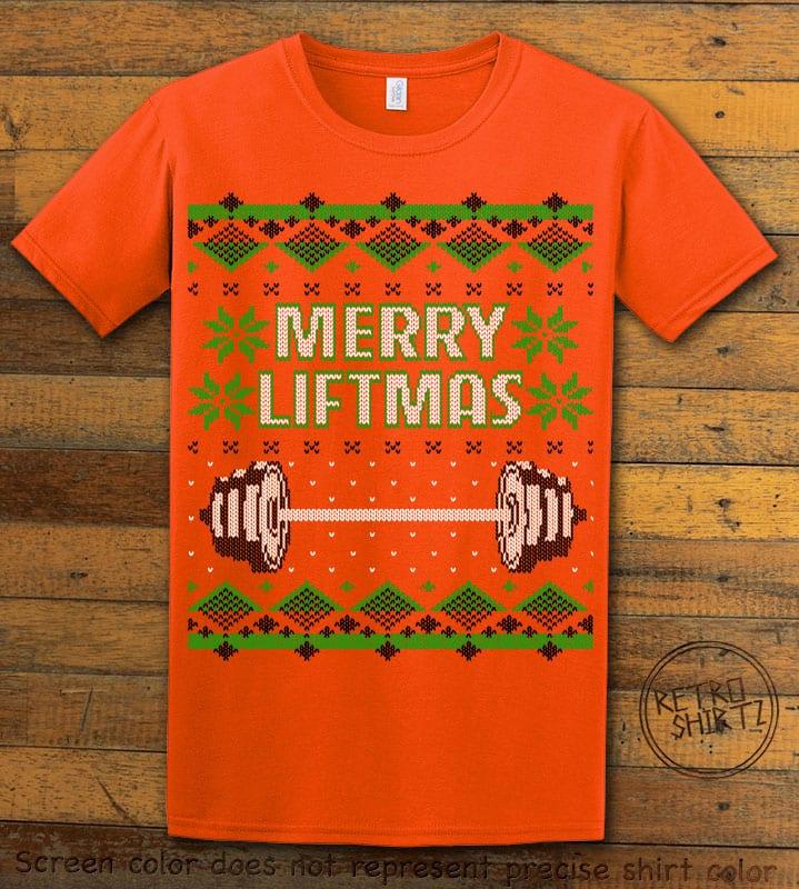 Merry Liftmas Graphic T-Shirt - orange shirt design