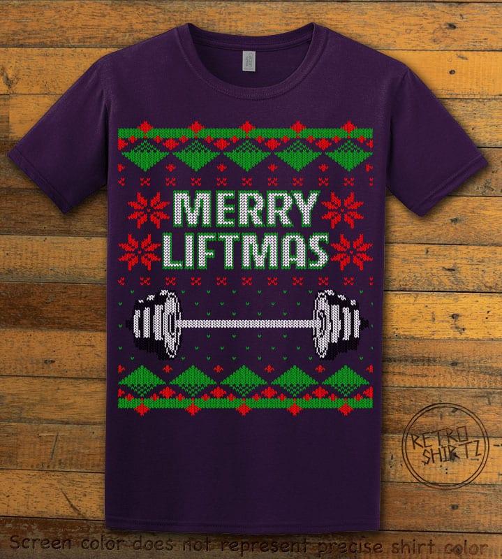 Merry Liftmas Graphic T-Shirt - purple shirt design