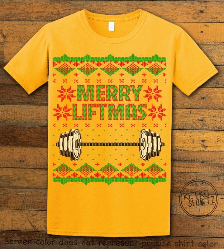 Merry Liftmas Graphic T-Shirt - yellow shirt design