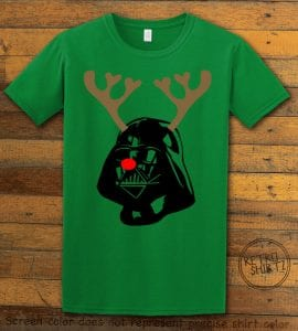 Darth Vader The Red Nosed Reindeer Graphic T-Shirt - green shirt design