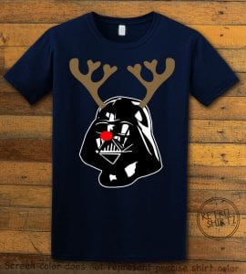Darth Vader The Red Nosed Reindeer Graphic T-Shirt - navy shirt design