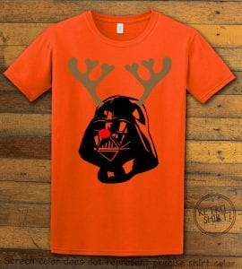 Darth Vader The Red Nosed Reindeer Graphic T-Shirt - orange shirt design