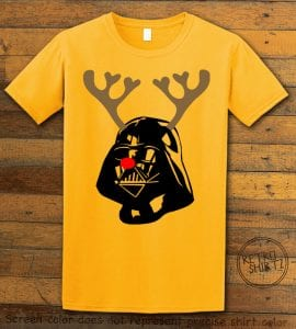 Darth Vader The Red Nosed Reindeer Graphic T-Shirt - yellow shirt design