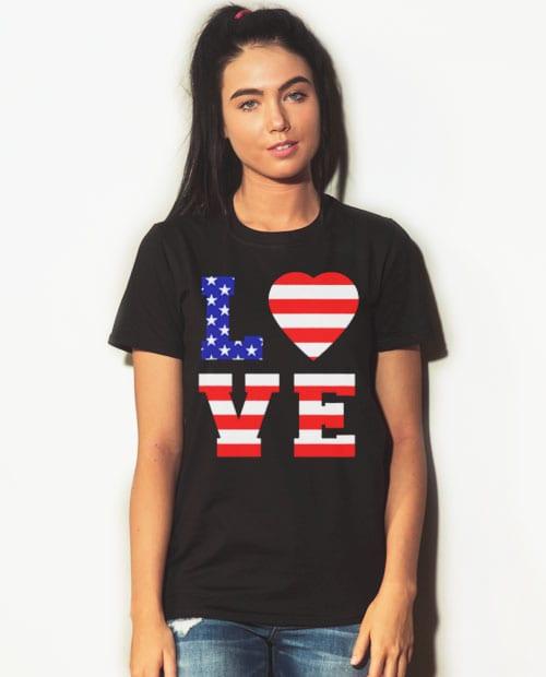 American Flag Love Graphic T-Shirt - black shirt design on a model