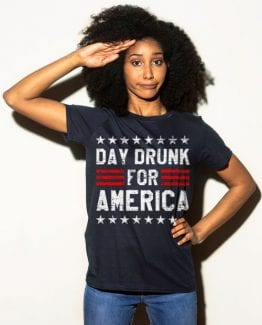 Day Drunk for America Graphic T-Shirt - navy shirt design on a model