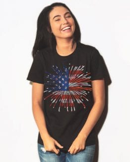 USA Firework Graphic T-Shirt - black shirt design on a model