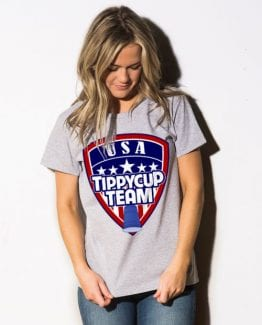 USA Tippycup Team Graphic T-Shirt - gray shirt design on a model