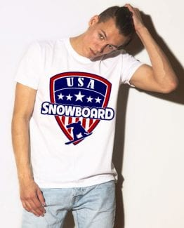 USA Snowboarding Team Graphic T-Shirt - white shirt design on a model