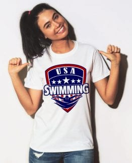 USA Swimming Team Graphic T-Shirt - white shirt design on a model