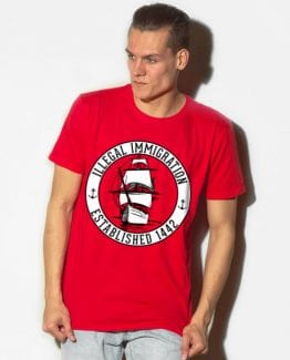 Illegal Immigration 1442 Founding Graphic T-Shirt - red shirt design on a model